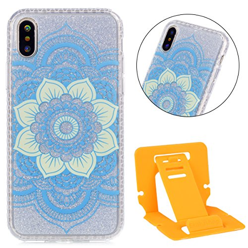 Custodia iphone X 5.8, iphone 10 Cover Glitter, Ekakashop Cover Morbido Sparkly Bling Bling Glitter TPU Silicone Gomma Soft Cover, Belle Bello Trasparente Crystal Clear Protettiva Back Cover Case Cus IMD-Fiore blu