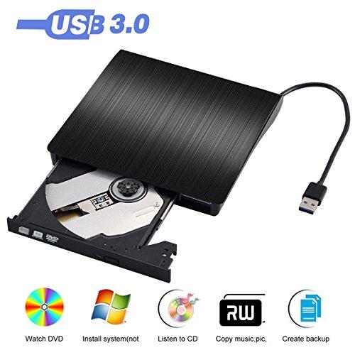 Externes DVD Laufwerk, Zacfton USB 3.0 DVD/CD Brenner für Macbook, Macbook Pro, Macbook Air, iMac OS, Windows 7/8/10/Vista/XP/2003 - Schwarz