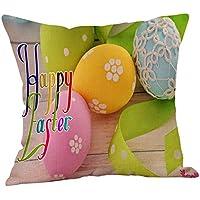 LEEDY Happy Easter Fundas de Almohadas Sofá de Lino Funda de cojín Decoración para el hogar