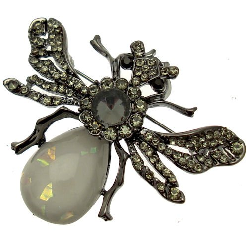 Acosta Brosche mit Kristall-Steinen &Folie, Stein, Vintage-Design Brosche fliegender Insekten