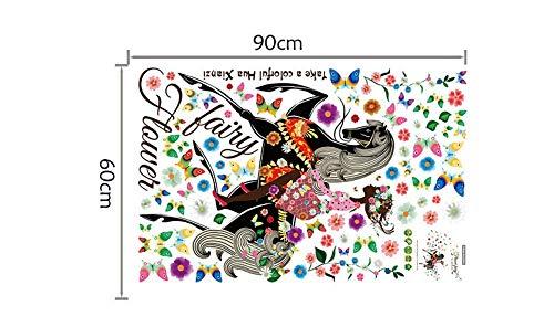 youjiu Wing Moon Butterfly Girls Room Decor Flor de Hadas Sentado Vines Tatuajes de Pared Regalo