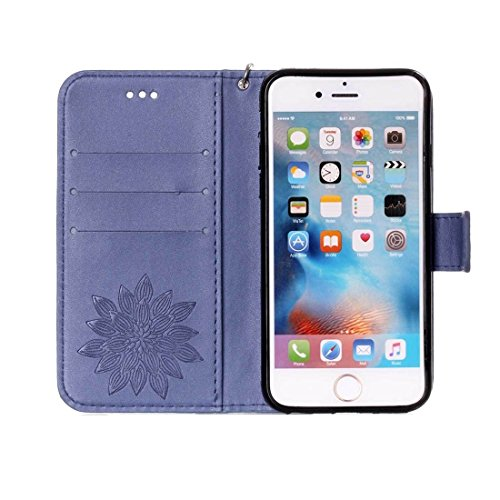 iPhone Case Cover Pour iPhone 6 Plus & 6s Plus Crazy Cheval Texture Moitié Fleur Impression horizontale Flip étui en cuir avec Holder & Card Slots & Wallet & Lanyard ( Color : Brown ) Dark blue