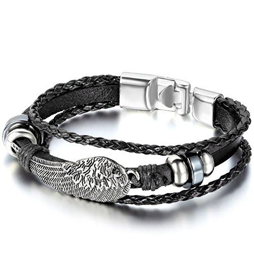 JewelryWe Schmuck Herren Damen Armband, Engel Flügel Geflochten Armreif, Leder Echtleder Legierung, Schwarz Silber
