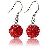 Earrings - TOOGOO(R)Shamballa Style Crystal Earrings - Red