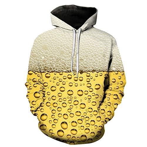 BEIXUNDIANZI Sweethearts Outfit Mens Lustige 3D Hoodies Mit Kapuze Frauen Sweatshirts Digital Realistisch Ich Bin in der Zeit Trinken Bier Modekleidung F-Yellow 5XL