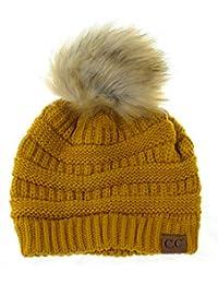 23e60cf67fd NYFASHION101 Doux Bonnet Extensible tricoté à Pompon en Fausse Fourrure.