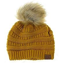 NYFASHION101 Doux Bonnet Extensible tricoté à Pompon en Fausse Fourrure. c89a8b428d5