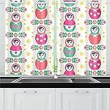 JINCAII Russische Puppe Matroschka Volksküche Vorhänge Fenster Vorhang Stufen für Café, Bad, Wäscherei, Wohnzimmer Schlafzimmer 26 x 39 Zoll 2 Stück