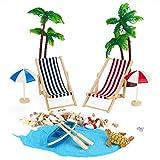 Adkwse Strand-Mikrolandschaft Miniliegestuhl Sonnenschirm Palme Deko