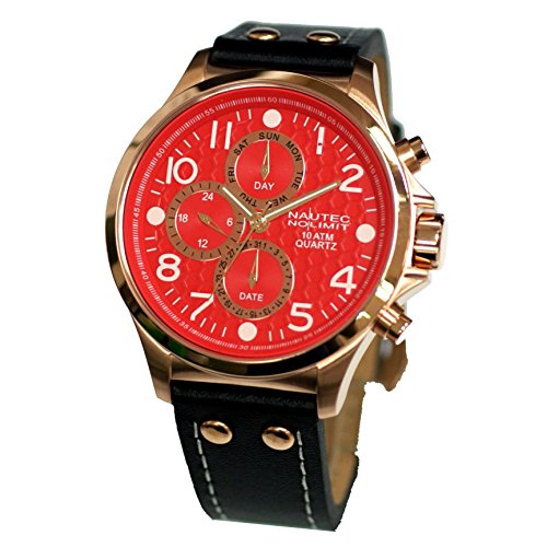 Nautec No Limit Men's Quartz Watch Fortune FORT-QZ-LTRG-RD with Leather Strap
