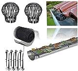 Dachrinnenschutz Set aus 24 Meter Dachrinnen Laubschutz Gitter für Regenrinne Fallrohrschutz