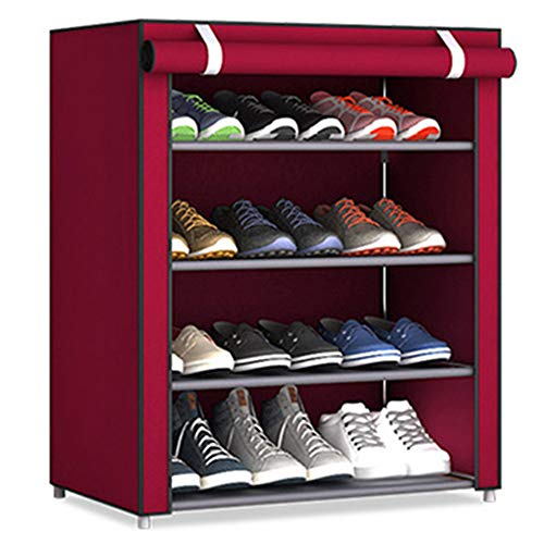 TOPmountain Zapatero portátil 5 Niveles, Rojo Gabinete Organizador de Almacenamiento de Zapatos...