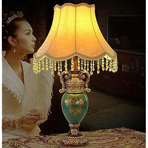 YM@YG Eleganza europea tessuto moda classico camera da letto studio lampada pulsante resina vetro lampada da tavolo