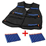 Yosoo Kids Elite Tactical Vest with 20pcs Soft Foam Darts for Nerf Gun N-strike Elite Series Not Including 2 Clips