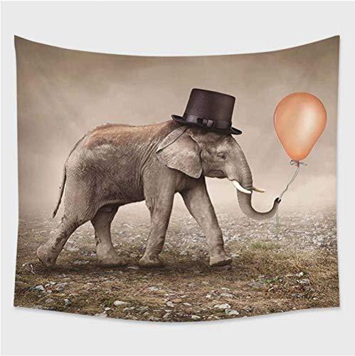 hhyyoo Surrealer Art Deco-Elefant des Tapisseriewandbehangs Mit Ballon-Wandverkleidung des Schwarzen Hutes 200 * 150Cm