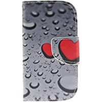 SsHhUu Galaxy S3 Mini Custodia, [Water Drip] Magnetico Durable Stand Card Slot PU Leather Flip Slim Protettivo Portafoglio Case Cover per Samsung Galaxy S3 Mini i8190