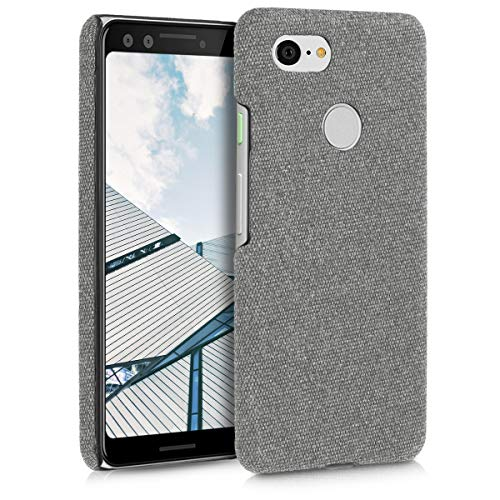 kwmobile Hardcase Hülle für Google Pixel 3 - Backcover Case Schutzhülle Cover in Canvas Design Hellgrau