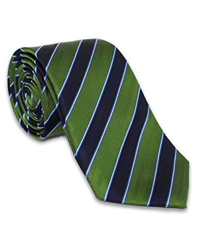 Krawatte aus 100% Seide | Grün Blau Streifen | Handgefertigt in Italien | Für Hochzeit | Seidenkrawatte gestreift für Business Anzug oder Hemd (Repp-stripe - Herren)