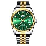 XLORDX Herren Armbanduhr Wasserdicht Woche Datum Analog Quarz Gold Uhr mit Edelstahl Grün