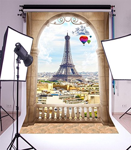 YongFoto 1,5x2,2m Foto Hintergrund Träumen von historischem Standort französischem Paris Eiffelturm Moderne Draufsicht der Stadt Fotografie Hintergrund Photo Portrait Party Kinder Hochzeit Fotostudio