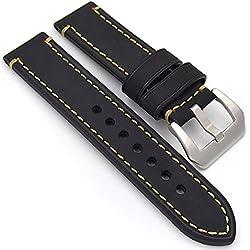 meridy Correa Reloj Cuero Correa de Recambio Correa de Repuesto Reloj Cinturón Adecuado Para Reloj Tradicional Reloj Deportivo Reloj Para Hombre o Reloj Inteligente 22mm negro 1PCS