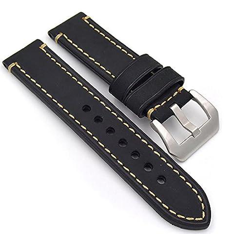 Uhrenarmband Modische Herren Damenuhr Uhrband das Armband Ersatzuhr Gurtel hält Watch Strap Riemen Kalbsleder 20mm 22mm 24mm Lederarmband Ersatz-Armbanduhr Uhren Zubehör Watch Band (24mm (24 Mm Haken)