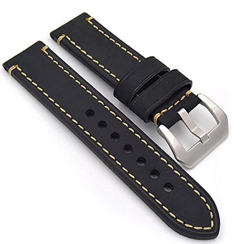 Ersatz-uhrenarmbänder Schwarz (Uhrenarmband Modische Herren Damenuhr Uhrband das Armband Ersatzuhr Gurtel hält Watch Strap Riemen Kalbsleder 20mm 22mm 24mm Lederarmband Ersatz-Armbanduhr Uhren Zubehör Watch Band(20mm Schwarz))