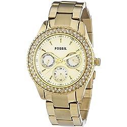 Fossil Stella Multifunktion ES3101 - Reloj analógico de cuarzo para mujer, correa de acero inoxidable chapado color dorado (agujas luminiscentes)