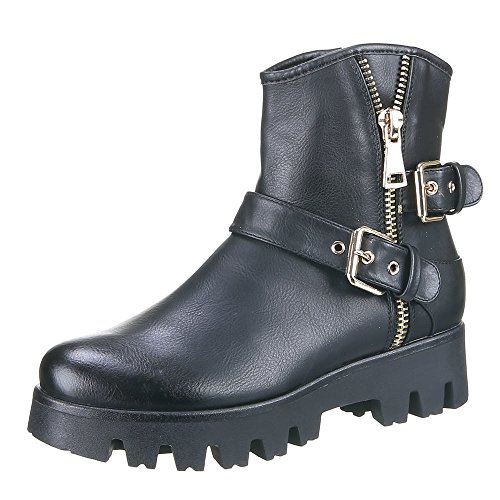 Damen Schuhe, JH16261, STIEFELETTEN Schwarz