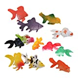 12pcs Modelo Juguete Animales Peces De Colores Artificiales Plástico Colorido