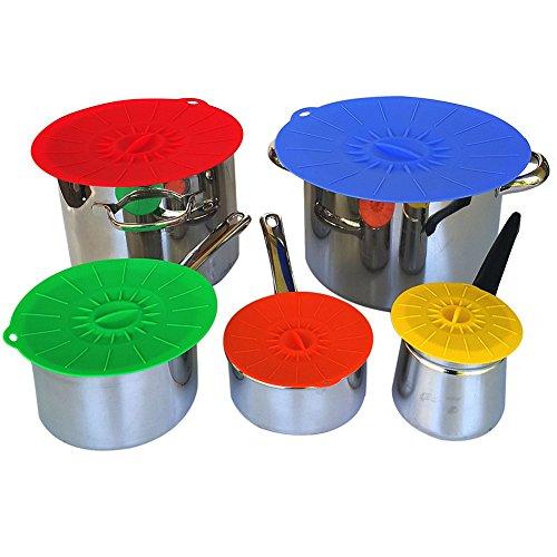 Togather® aspiration Couvercle Ensemble de 5 tailles Covers 4,75 à 12 Joint Aspiration Bowl Couvercles Inch réutilisable en silicone vert vide pour Bols, pots, tasses. Food Safe (couleur aléatoire)