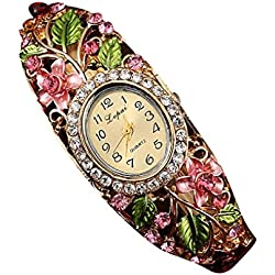 PSFY Women Slim Flower Leaves Reinstone Round Band Bracelet Wrist Watch Christmas Gift(pink)