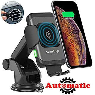NeotrixQI Wireless Car Charger, 10W Auto Clamp 2-in-1 Qi Fast Charger Car Mount Air Vent &Dashboard Phone Holder for iPhone Xs Max/XR/Xs/X/8 Plus, Samsung Galaxy S9 Plus/S8/S8 Plus