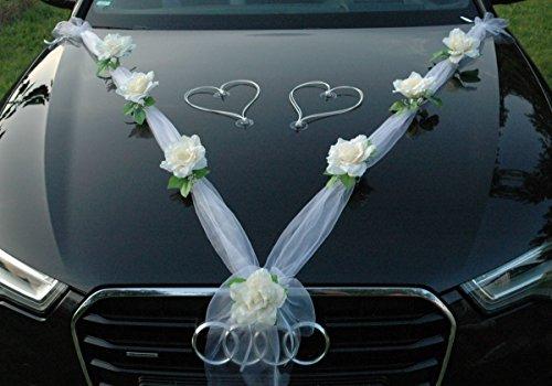 uto Schmuck Braut Paar Rose Deko Dekoration Autoschmuck Hochzeit Car Auto Wedding Deko Ratan Girlande PKW (Ecru / Weiß / Weiß) (Cars Dekoration)