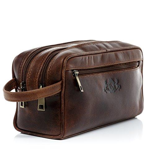 SID & VAIN® trousse de toilette GATWICK - grand Necessaire style Vintage - poche de toilette homme châtain clair en cuir véritable