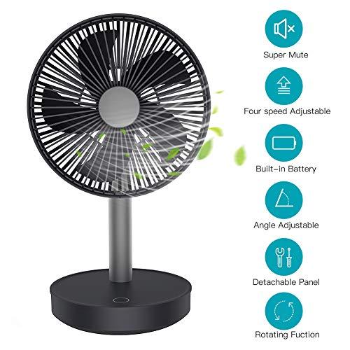 Ventilator leise Tischventilator, automatisch oszillierend Tischlüfter, 13 dB wiederaufladbarer 4000mAh Ventilator, 4 Geschwindigkeitsstufen tragbar Luftzirkulator für Büro Wohnzimmer Schlafzimmer