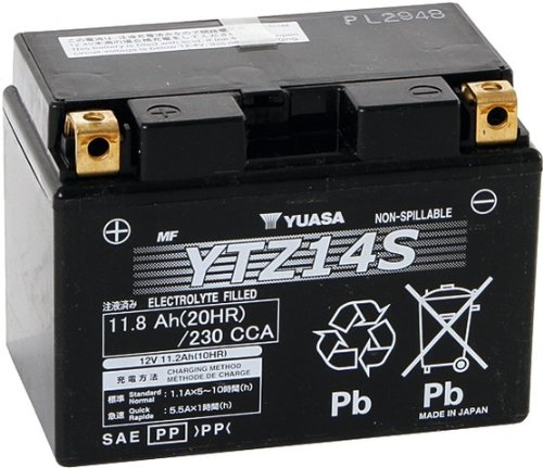 Moto YUASA Batteria avviamento Tipo YTZ14S per Honda Croce Tourer 1200 ABS DTC (trasmissione a doppia frizione), 2012-2013 (veicolo: SC70)