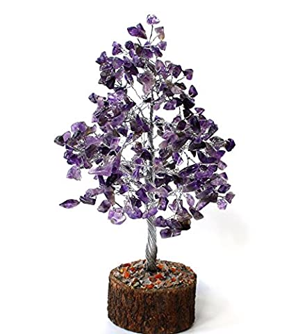 Reiki Healing Energy Charged Krystal Gifts UK Amethyst Crystal 25 cm Gem Chip Wire Wrapped Tree (Beautifully Gift Wrapped with Crystal