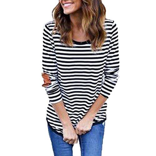 Damen Langarmshirt, iHee Schwarzweiss-Streifen Langarm O-Ausschnitt Shirt Casual Bluse Lose Baumwoll Tops T-Shirt (L, Streifen)