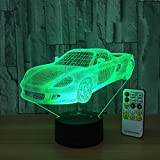 Di Grazia Night Light Toy Car 3d Night Light Beside Lamp Help Kids Fell Safe At Night Remote Control Adjustable 7 Colors Perfect Birthday Gift For Kids Great Toy Gift Idea For Kids (Toy Car)