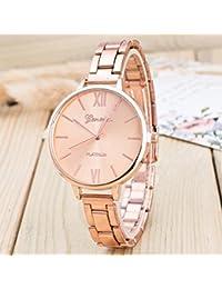 Longra☀☀ Simple diseño retro aleación de aleación de banda analógica de cuarzo reloj de pulsera (Oro rosa)