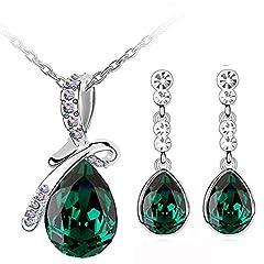 Idea Regalo - Klaritta S675 - Parure elegante composta da collana con pendente a goccia con fiocco e orecchini colore verde smeraldo