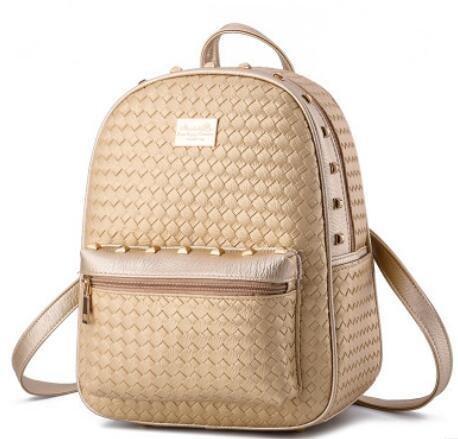 HQYSS Damen-handtaschen Koreanisch Dame Studenten PU Leder Freizeit Schulter Tasche Vertikalschnitt woven gold