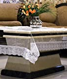 #8: Kuber Industries™ Transparent Center Table Cover 4 Seater 40*60 Inches (Silver Lace)