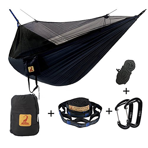 Hammock with Mosquito Net Double Camping Portable Parachute Nylon Hammocks Bug Net For Comfortable Outdoor Travel, Backaping, Camping, Christmas Gift, Hiking, Navy