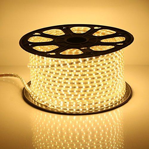 GreenSun LED Lighting Flexible 10M 5050 Warmweiss led strip Lichterschlauch Lichtschlauch Lichterkette Schlauch Leiste IP65 60leds / m wasserdichte Weihnachts Innen Aussen Streifen Licht mit Adapter