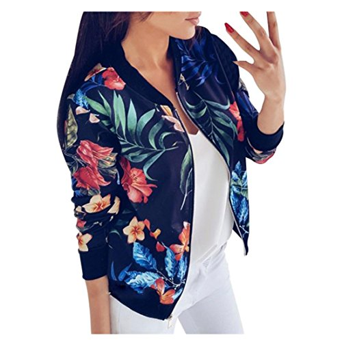 Damen Frühling jacke FORH Frauen Elegant Blumenmuster bedruckte Baseball Mantel Mode Stehkragen Langarm Bomber jacke Kurz Cardigan...