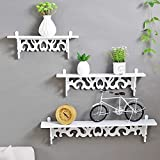 Homezone 3er Set weiß Shabby Chic Filigranarbeit Stil schwimmende Wand shelves.stylish Wandmontage Bücherregal dekorativ Display regale wand Regal Lagerregal
