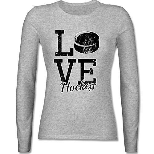 Eishockey - Love Hockey - tailliertes Longsleeve / langärmeliges T-Shirt für Damen Grau Meliert