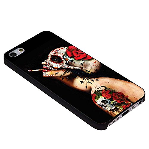 floral sugar skull tattooed For iPhone Case (iPhone 6 plus black)